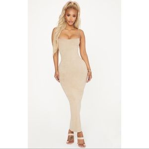Pretty Little Thing Stone Midaxi Suede Dress